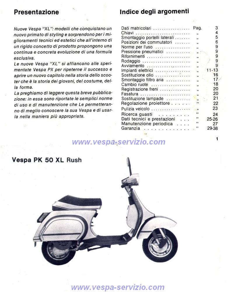 manuale d uso e manutenzione vespa pk 50 xl rush vespa servizio rh vespa servizio com